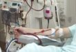 patient helped during dialysis session in hospital