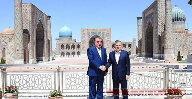 Эмомалӣ Раҳмон аз ш. Самарқанд/Ӯзбекистон боздид кард