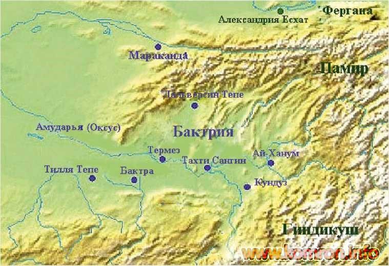 Карта Древней Бактрии