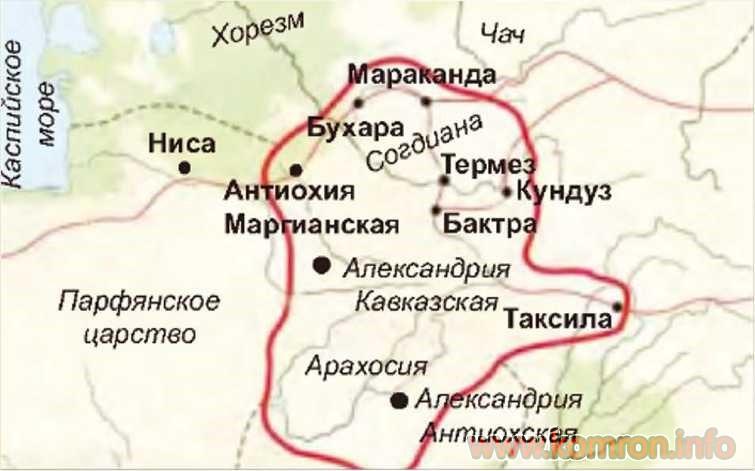 Карта Греко-Бактрийского царства. II в. до н. э.