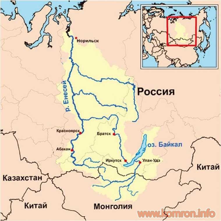 Карта Енисея