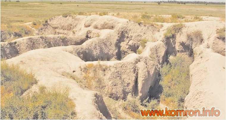 Остатки развалин города Суяб. Чуйская долина