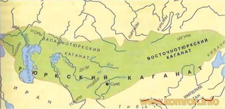 Карта Тюркского каганата