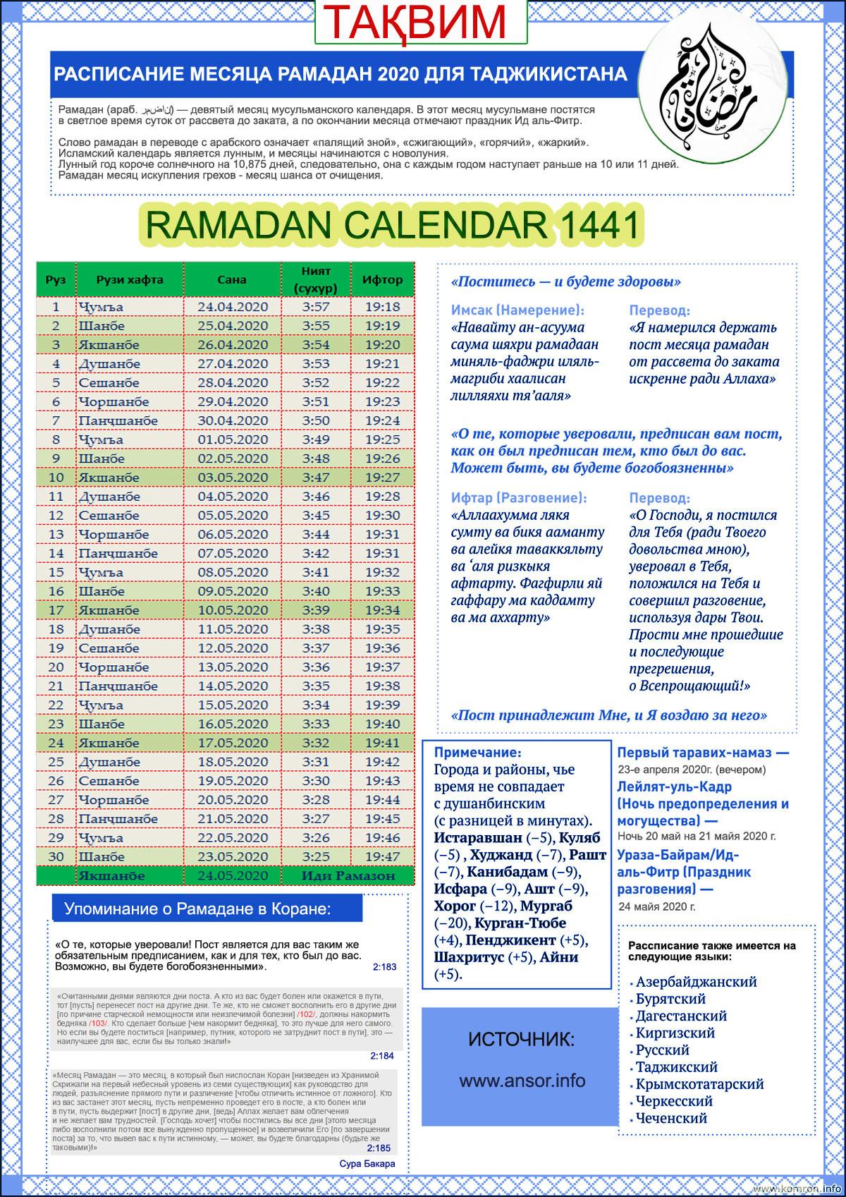 Taqvimi mohi sharifi Ramazon 2020–i melodi (soli 1441-hijri)
